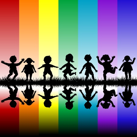rainbow colours: Kids playing over a rainbow background