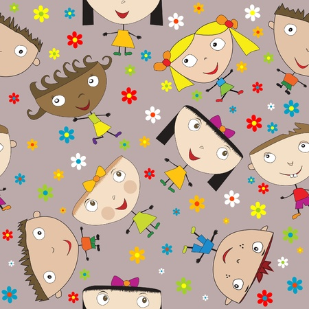 Seamless pattern with happy children and flowers Vector