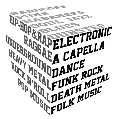 Typography with music genres Vector