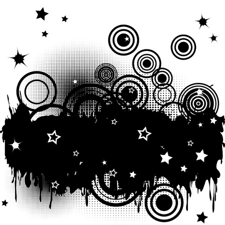Background with splats, circles and stars Stock Vector - 13779869