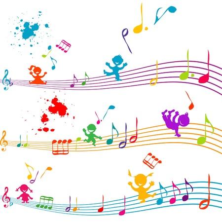 canta: Pentagramma colorato con i bambini cantano Vettoriali
