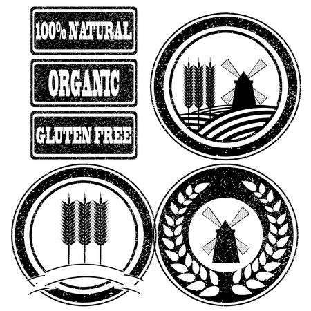produits céréaliers: Caoutchouc food stamps collection d'étiquettes pour les produits céréaliers à grains entiers Illustration