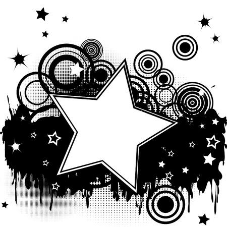 Fondo del grunge de inicio con estrellas, círculos y el lugar para el texto Ilustración de vector