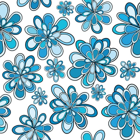 floral decoration: Seamless pattern with blue abstract flowers Illustration
