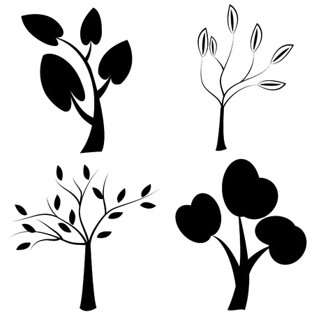 Set of black trees silhouettes Vector