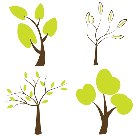 Trees silhouettes, set of trees icons