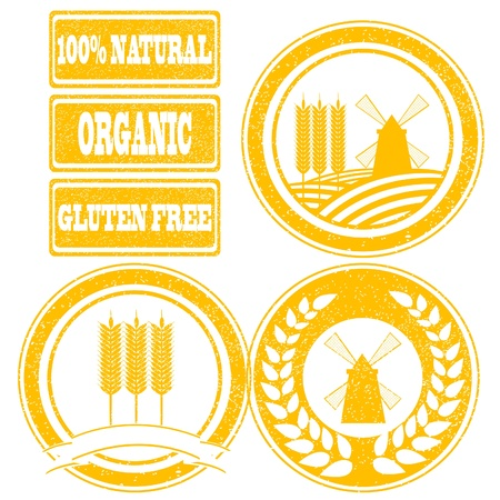 Food orange rubber stamps labels collection for whole grain cereal products Vector