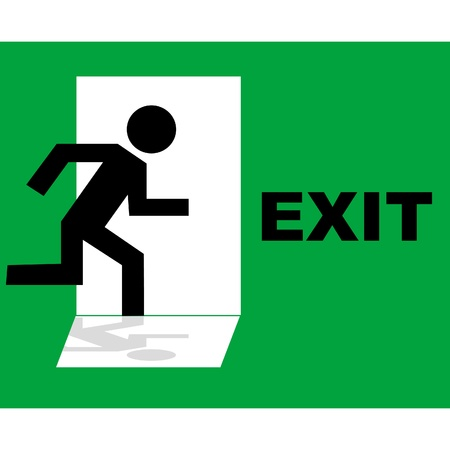 green exit emergency sign: Green emergency exit sign icon Illustration