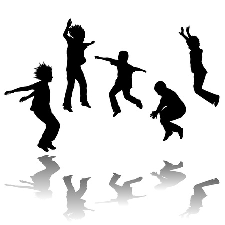 shadow silhouette: Happy children jumping
