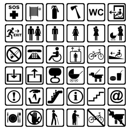 forbidden pictogram: International service signs. All objects are isolated and grouped.