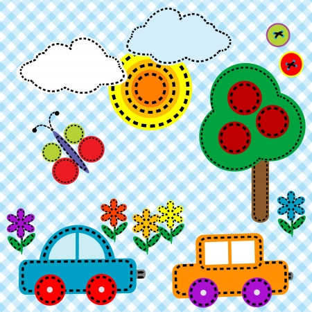 Sewing background fabric for kids Vector