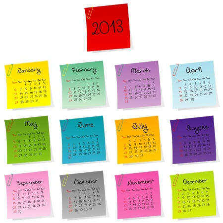 julie: 2013 calendar made of colored post-it set Illustration