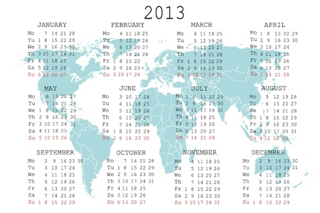 julie: 2013 calendar with blue map for your notebook or agenda