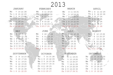 2013 Calendar with world map Vector