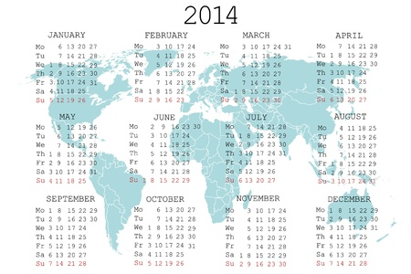 2014 calendar with blue map for your notebook or agenda Vector