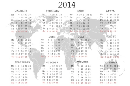 julie: 2014 Calendar with world map