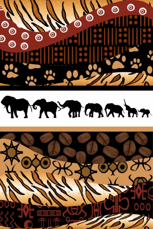 background motif: African background made of ethnic motifs and elephants silhouettes