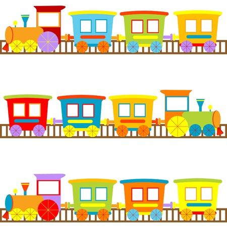 Background for kids with cartoon trains Vector