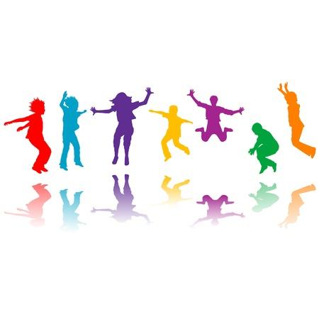 ahogarse: Grupo de niños dibujados a mano siluetas saltando