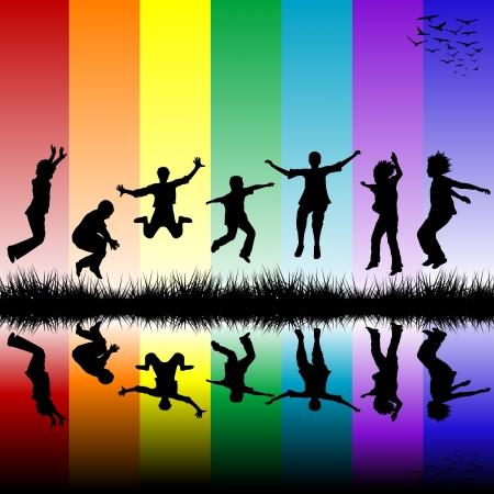 ahogarse: Grupo de niños saltando por encima de un arco iris de fondo de rayas Vectores