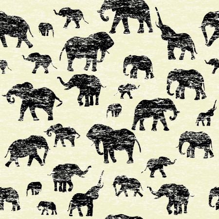 Grunge backgorund with elephants silhouettes Vector
