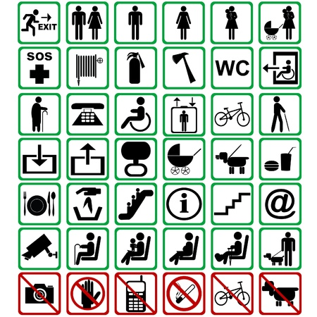 International signs used in transportation means Vector