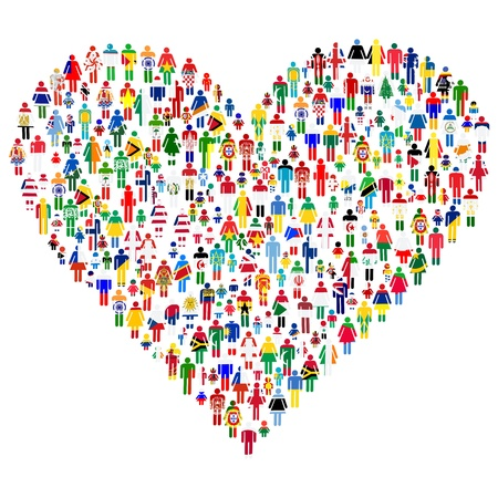 world flags: Love concept; heart made of people  People are made of all flags from the World