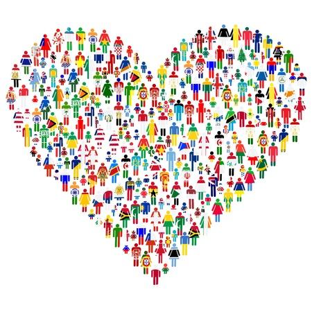 Amore concetto; cuore fatto del personale Le persone sono fatte di tutte le bandiere del mondo