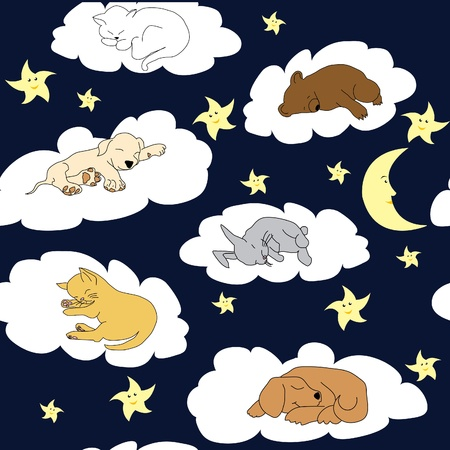 sleeping animals: Night sky background with sleeping cute cartoon animals Illustration