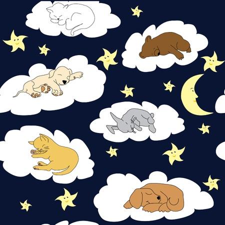child bedroom: Noche fondo del cielo con dormir animales lindos de la historieta Vectores