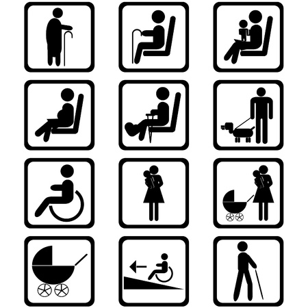 injured person: Priority seating area signs Illustration