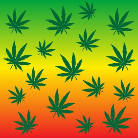 Rastafarian background with marijuana leaves Vector