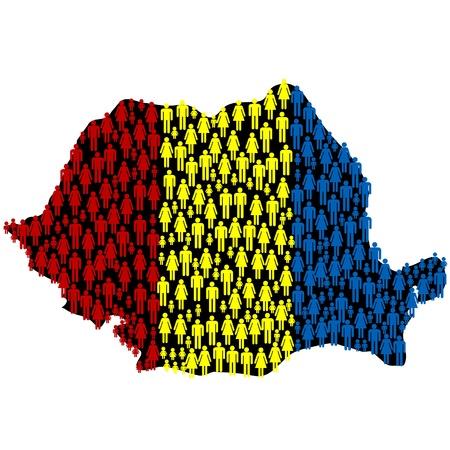 romania flag: Romanias map with Romanias flag made of people Illustration