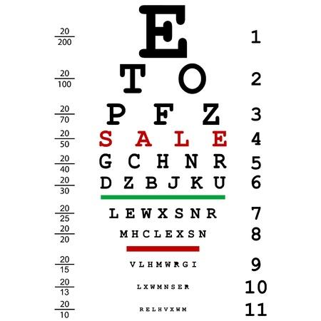 miopia: Pubblicit� di vendita con esame della vista ottico utilizzato dai medici