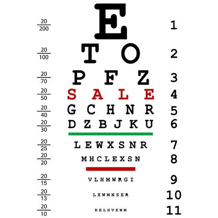 eye exams: Sales advertising with optical eye test used by doctors