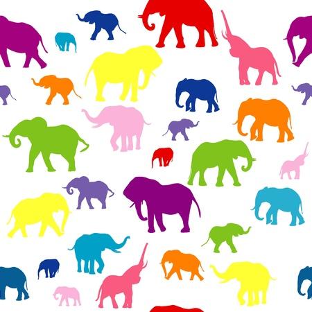 siluetas de elefantes: De fondo sin fisuras con las siluetas de elefantes de colores Vectores