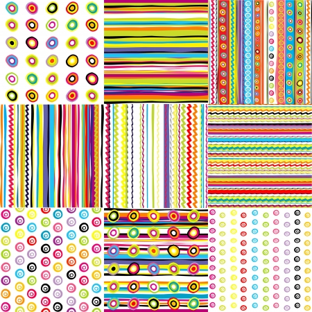 border cartoon: Set of doted and striped backgrounds for kids