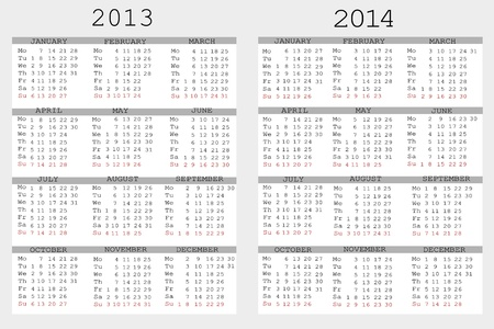 julie: Set of 2013 and 2014 Calendar for your notebook Illustration