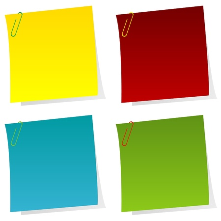 Set of post it notes with paperclips Vector