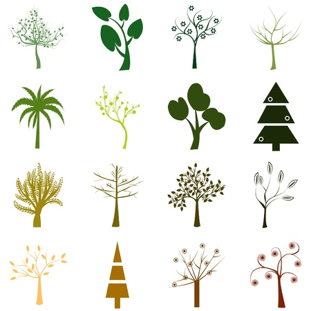 Set of trees isolated over white background Vector