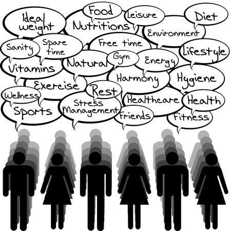 gesundheitsmanagement: Health-Konzept mit Menschen und Sprechblasen mesages