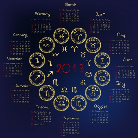 2013 Calendar with astrology signs Vector Illustration