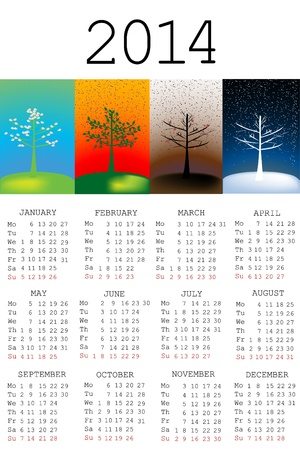 2014 Calendar with tree in all the seasons Vector