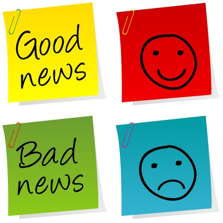 good and bad: Good news and bad news post it Illustration