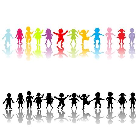 children running: Happy children silhouettes