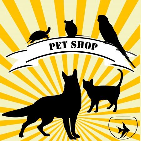 tienda de animales: Publicidad de la tienda de mascotas Vectores