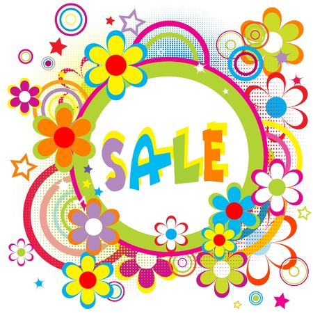 kid shopping: Sale advertisement with circles and flowers