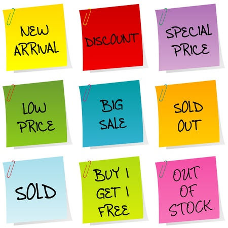 sold out: Sale announcements, set of post it Illustration