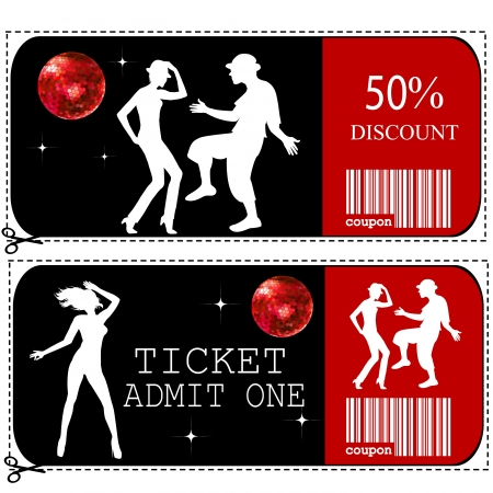 Sale voucher and entrance ticket for disco club Vector