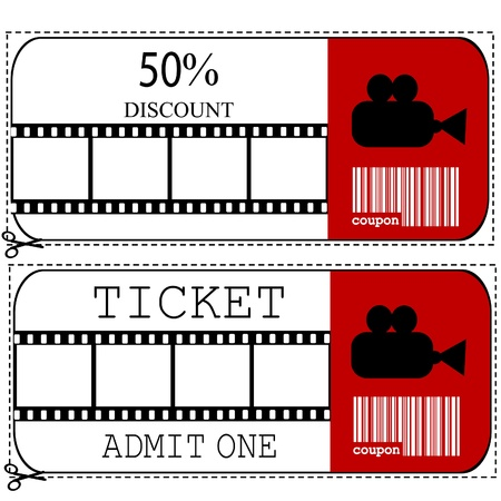 Sale voucher and entrance ticket for cinema movie Stock Vector - 14493224